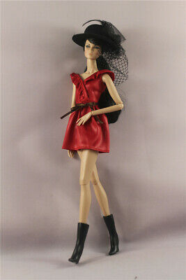 3in1 Fashion  Red dress+Cap+Boots  clothes Outfit  For 11.5in.12 inch Doll