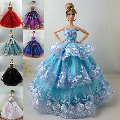 New 6 PCS Princess Dress/Wedding Clothes/Gown For 11.5in. Babi Doll