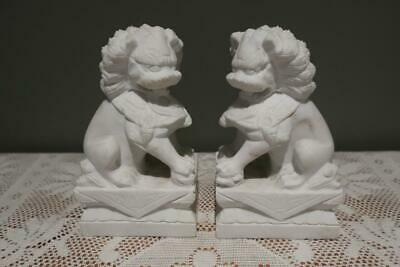 Vintage Carved White Stone Foo Dog Bookends Book Ends - Lion Guardian - Vgc