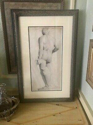 Framed Antique 19Th Century Original French Charcoal Drawing