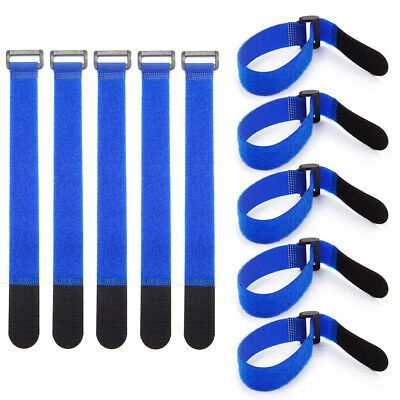 10pcs Blue Hook and Loop Strap Strapping Cable Ties with Plastic Buckle 30cm