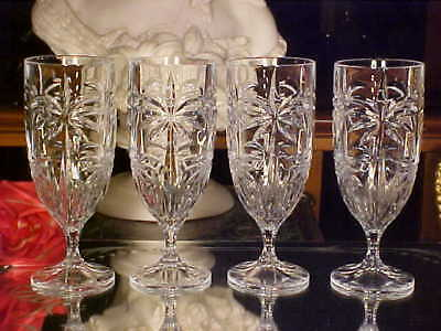 4 BIG 13 Oz CRYSTAL Goblets Wine Water Glasses PALM TREES - GREAT SET!
