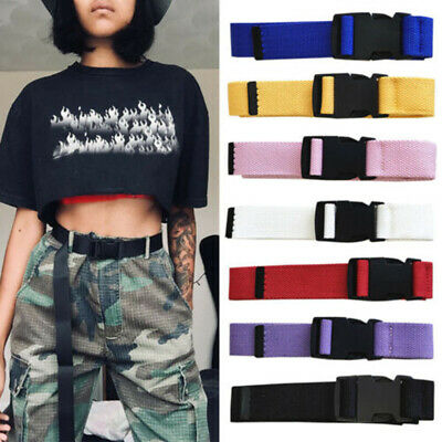 Unisex Mens Womens Cotton Canvas Fabric Webbing Black Buckle Belt Army Unisex