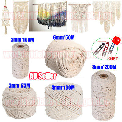 2/3/4/5/6mm Macrame Rope Natural Beige Cotton Twisted Cord Artisan Hand Craft PP