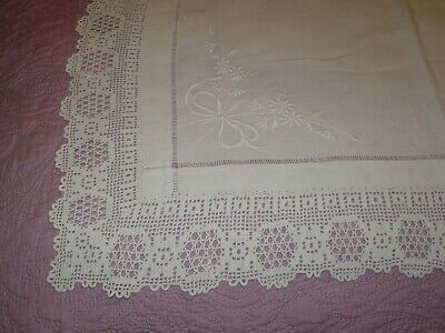 Antique Linen Embroidered & Crochet Lace Runner or Tray Cloth 27 by 17