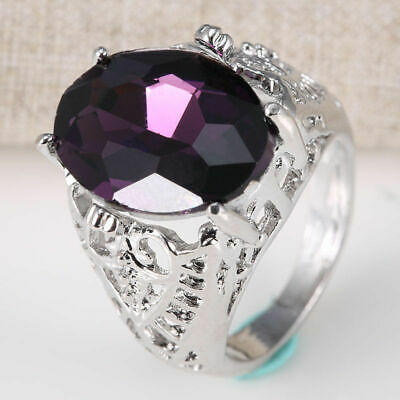 Woman Huge Natural 6Ct Alexandrite Ring 925 Silver Wedding Engagement Size 6-10