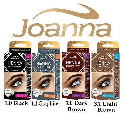 Joanna Henna Cream Eyebrows & Eyelashes Kit Brown Black Graphite Tint Dye 15ml