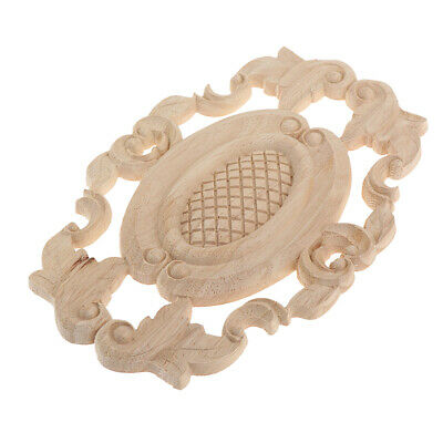 Retro Wood Carved Corner Onlay Appliques Unpainted Furniture Decors Figurine