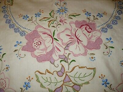 """Amazing Elaborately Embroidered & Cutwork Colored Madeira Tablecloth 107 x 67"""""""