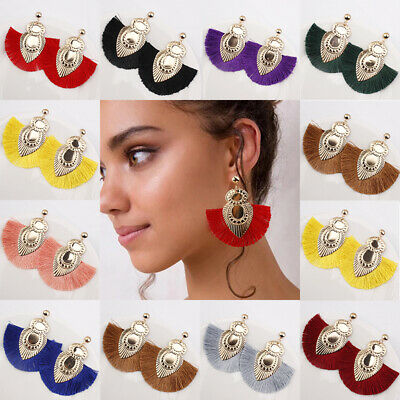 Women Tassel Bohemian Large Earrings Handmade Fringe Earrings Statement Jewelry