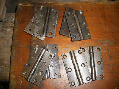 "Vintage Victorian / Edwardian cast iron door hinges 3 1/2"". Refurbished"