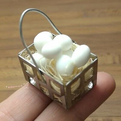 Dollhouse Miniature 1:12 kitchen Food A basket with Eggs-Toys 6x Simulation L0A0