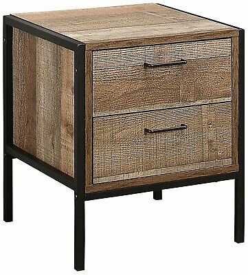 House Addtions Brooklyn 2 Drawer Bedside Table, Wood, Rustic, Brown and Black