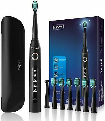 Electric Toothbrush with Travel Case Rechargeable 8 Brush Heads with Timer Black