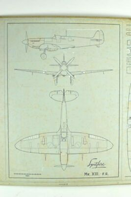 RAF Aircraft Supermarine Spitfire Vintage Engineering Drawing MkXII MkXIII-FR