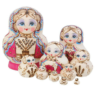 10PCS Hand Painted Girl Print Wooden Russian Nesting Dolls Christmas Gifts