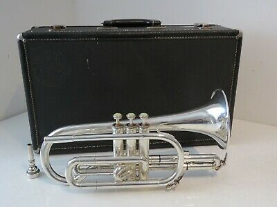 Blessing USA XL Silver Plated Cornet with Mouthpiece & Case