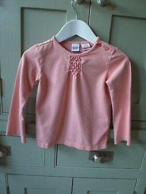 Gap girls coral pink cotton long sleeve top t-shirt age 4 excellent condition