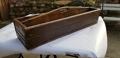 Early Antique Primitive Old Barn Find Wood Tool Box Carpenters Caddy