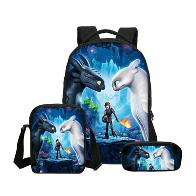3pcs How to Train Your Dragon Backpack Pencil Bag School Bag Bookbag Satchel