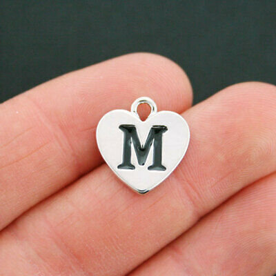 4 LETTER M Heart Charms Antique Silver Tone Alphabet Charm - SC5325