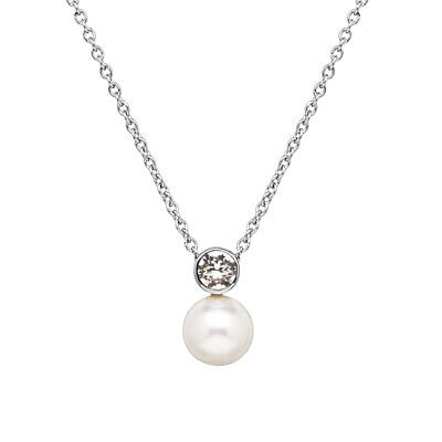 Swarovski Crystal Necklace Crystal Pearl Stainless Steel Chain with Extender