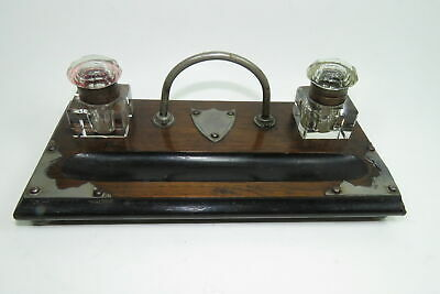 Antique Double Inkwell Wood with Brass Accents Glass Wells Arts & Crafts