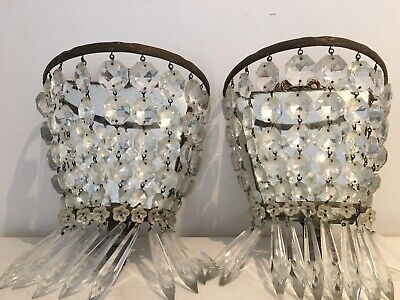 Pair Of Victorian Icicle Mirrored Wall Lights Chandeliers