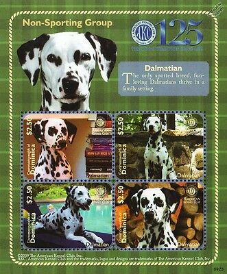 Dalmatian Dog Stamp Sheet (American Kennel Club Non-Sporting Group) Dominica