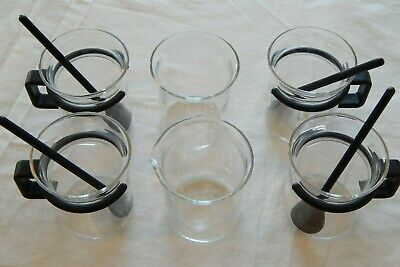 BODUM 8oz Espresso BISTRO SET of 6 Glass Coffee Cups w/ Sugar, Creamer & Spoons