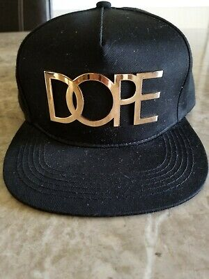 reputable site 17e7b 8563d DOPE 24K Gold Metal Logo Snapback Cap Mens Black Hat