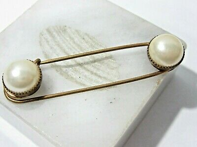 Safety Pin Style Double End Faux Pearl Vintage Brass Pin