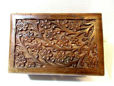 Raised Carved Floral Flowers Wood Wooden Box Jewelry Trinket Made In India