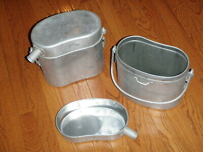 french army canteen cup carrier AND squad cooking pot w/ lid WWI WWII COLD WAR