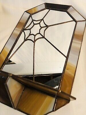 RARE Slag Stained Art Glass Vanity Mirror Spider Web Design SIGNED Frank Higgins