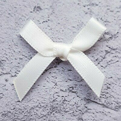7mm Small Satin Ivory Ribbon Bows For Card Making Craft Sewing Art & Craft