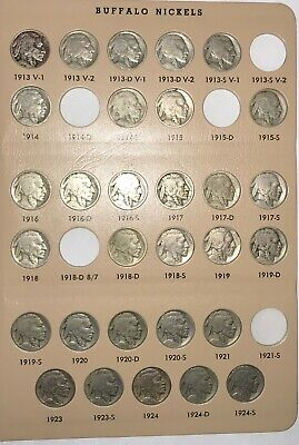 1913 To 1938 Buffalo Nickel Partial Set 60 Coins Circulated In Dansco 7112