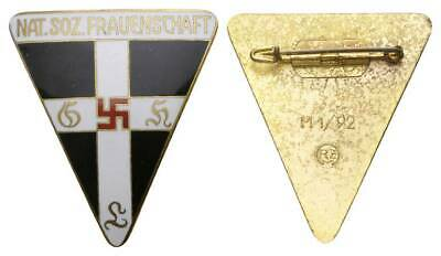 DRITTE Reich genuine NAT. SOZ. FRAUENSCHAFT enameled badge w/ swast. top grade!