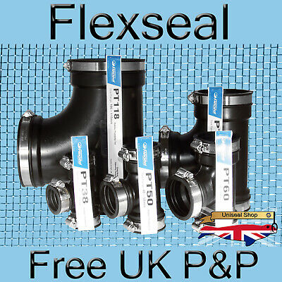 Flexseal EPDM Rubber Plumbing Boot Pipe Connector Coupling - Tee