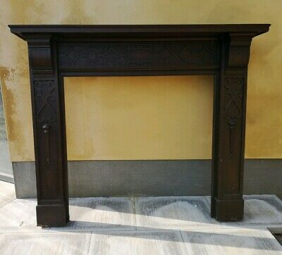 Carved Edwardian Arts & Craft Hardwood Mantelpiece Fire Surround 1900s