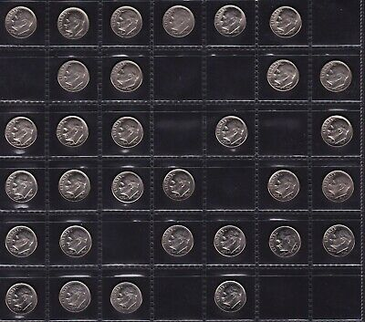 United States Dime Coins Dates from 1965 - 2004 all different 31 Coins