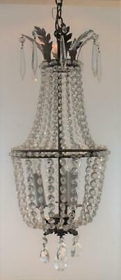 Antique Electric 3 Light Crystal Glass Beaded Hall Pendant Chandelier & Canopy