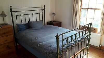 Double Bed Frame / Vintage Green Colour/Brass Effect Metal