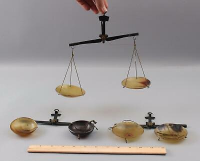 3 Small Antique 19thC Brass w/ Horn Pans Balance Scales, Medicine, Gold Mining