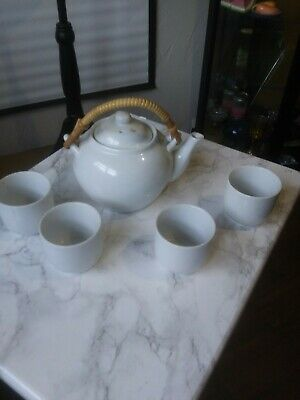 PIER 1 IMPORTS WHITE PORCELAIN CHINA TEA SET Teapot and 4 Cups Pier One