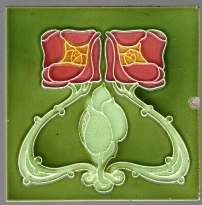 Minton, Hollins & Co - c1905  Red Rose - Art Nouvea Antique Majolica Tile