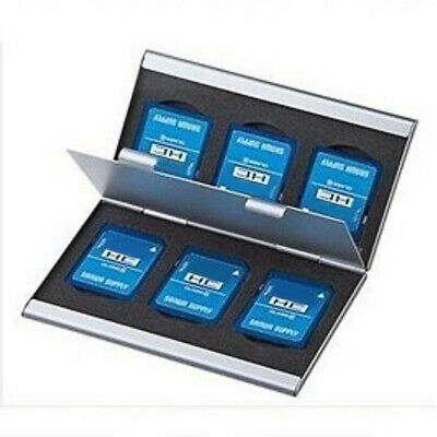 SD Card Holder 6 Slot Storage Box Silver Aluminum Memory Card Case 2 Layers New
