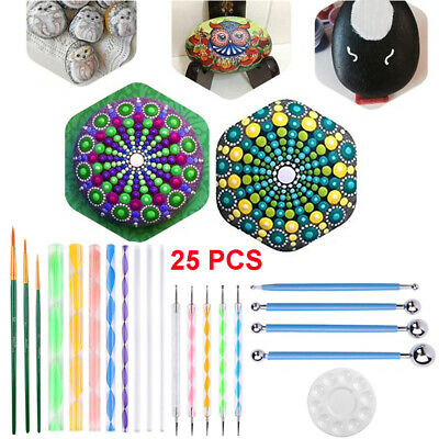 25pcs Mandala Dotting Tools for Rock Painting Kit Dot Art Rock Pen Paint Stencil