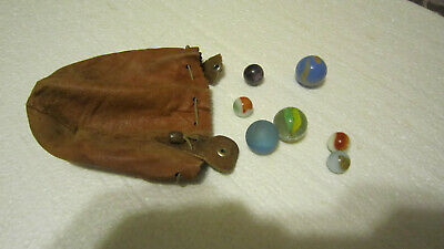 Antique Vintage large & small Marbles with vintage marble leather bag pouch