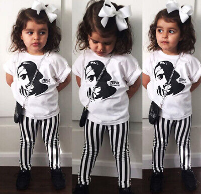AU Casual Toddler Baby Kids Tops T Shirt Striped Pants 2Pcs Outfits Set Clothes